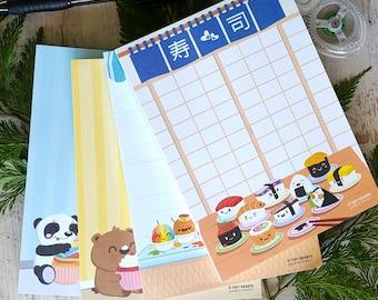 Notepads, Kawaii, Cute Shave Ice, Sushi, Cupcake