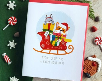 Holiday Collection: Meowy Christmas & Happy Howlidays Note Card - A2