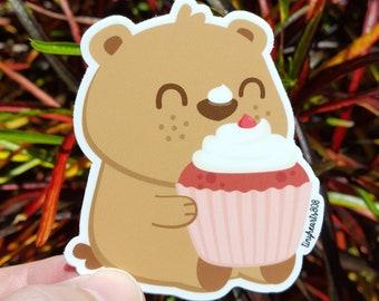 "Cupcake Bear Sticker Cute Kawaii 2.75"" x 3.0"""