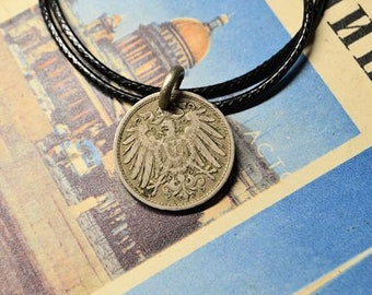 Germany  silver coin necklace10 pfennig 1900DeutsclandGermany jewelrySilver coinCoin jewelryHandmade  necklaceGermany Empire