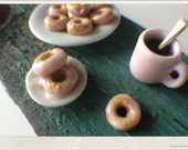 Donuts and black coffee - Dollhouse Miniature Food