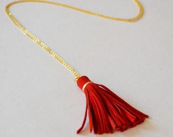 Red tassel necklace, suede tassel, boho necklace, red necklace, leather tassel necklace, hippie necklace, Valentines gift for her under 25