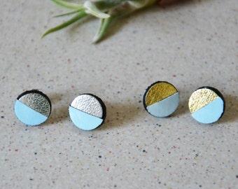 Geometric post earrings, Light blue earrings, Round studs earring, leather earrings, Girl power jewelry, 3rd anniversary gift,something blue