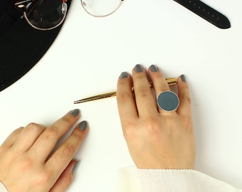 Statement ring blue, Blue gift for wife, Leather geometric ring, Boho ring, Modern ring, handmade gift for her, Christmas statement gift