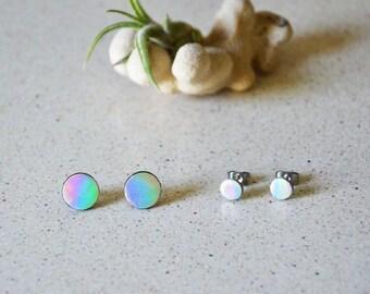 Mermaid earrings, Iridescent studs, Round studs earring, leather earrings, Girl power jewelry, Bright earrings, Shiny jewelry, Tiny studs