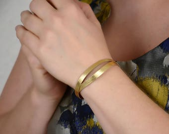 Wrap bracelet, Gold leather choker, Thin leather bracelet, Layering bracelet, Stacking bracelet, Stocking filler, Gift under 10,Gift for her