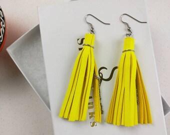 Neon tassel earrings, Leather earrings, Fringe earrings, tassel gift girlfriend, Bohemian jewelry for wife, Yellow  tassel jewelry for her
