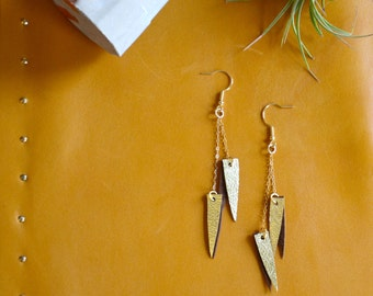 Metallic Gold earrings, Long triangle earring, Leather earrings, Metallic leather, Long earring, Glam gift for her, Leather anniversary