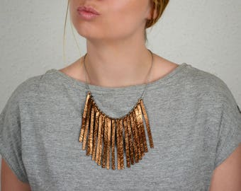 Leather fringe necklace, Xmas necklace, Copper jewelry, Copper anniversary for her, Festive, Bib necklace, Leather gift, Leather wife gift