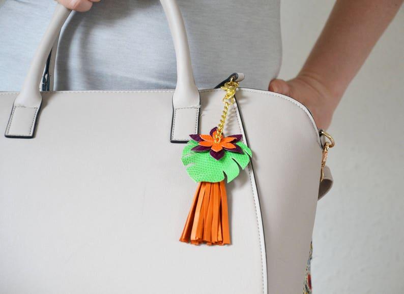 56b440a3d89b2 Bag charm tropical Bag charm tassel Leather tassel