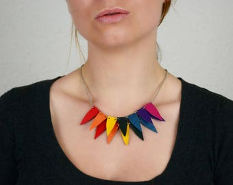 Multicolor bib necklace, Boho gift mom, Leather jewellery, Bold necklace, handmade jewelry, Colorful statement bib, Gift Under 30, for her