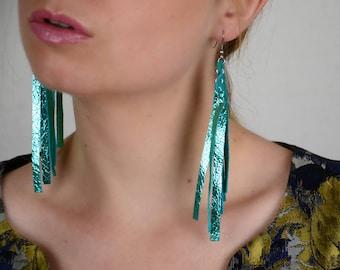 Blue earrings for wife, Long fringe earrings, Something blue, Leather earrings, Festive earrings, Long fringe gift,Leather gift for daughter