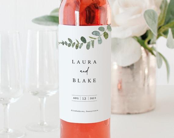 Eucalyptus Wine Label Template, Greenery Wedding, Printable Wine Label, Templett Editable, Instant Download