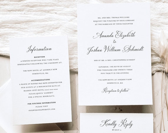 Elegant Wedding Invitation Template Set, Traditional, Wedding Invitation Suite, Printable, Calligraphy, Editable, Templett INSTANT Download