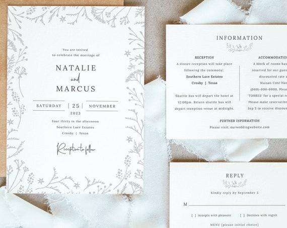 Winter Botanical Wedding Invitation Template Set, Wedding Invite Printable, Editable Templett, RSVP & Information, INSTANT Download