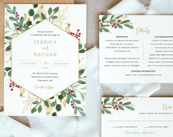 Winter Berry Invitation Template Set, Christmas Wedding Invitation Printable, Details & RSVP, Editable Templett, Instant Download