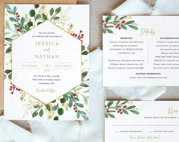 Winter Berry Invitation Template Set, Christmas Wedding Invitation Printable, Details & RSVP, Editable Templett, Instant Download