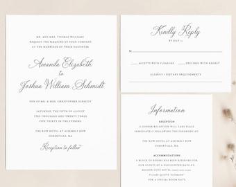 Elegant Wedding Invitation Template Set, Traditional, Wedding Invitation Suite, Printable, Calligraphy, Editable, Templett INSTANT Download