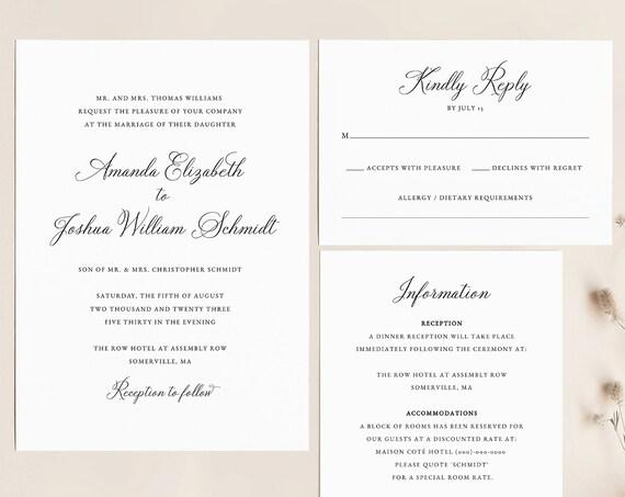 Wedding Invitation Set  Bundle INSTANT DOWNLOAD template download Calligraphy wedding DIY wedding templates Templett WD005 Gold Foil