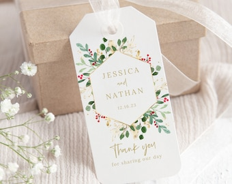 Winter Berry Favor Tag Template, Christmas Wedding Gift Tag, Printable, Instant Download, Templett Editable