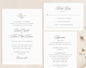 Wedding Invitation Template Set, Traditional Wedding Calligraphy, Monogram, Printable Wedding Invite Suite, RSVP, Templett INSTANT Download