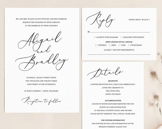 Elegant Wedding Invitation Set, TRY BEFORE You BUY, Rsvp & Details Card,  Editable, Printable Invitation, Instant Download
