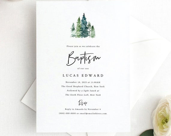 Pine Forest Baptism Invitation Template, Printable Baptism Invite, Rustic Pine Trees, Editable, Templett, INSTANT Download