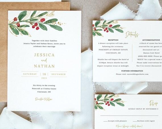 Winter Wedding Invitation Template Set, Christmas Wedding Invite Printable, Editable Details & RSVP Cards, Templett, Instant Download