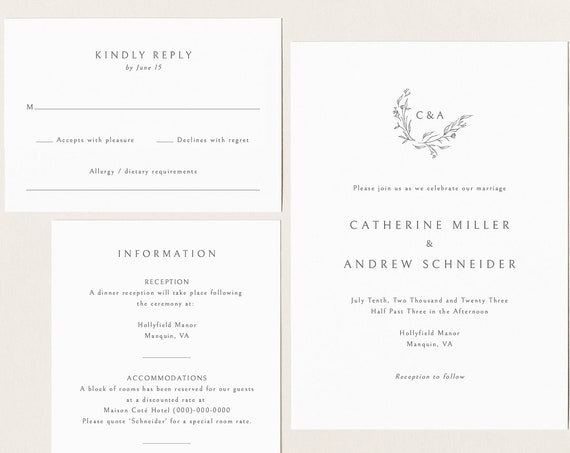 Wedding Invitation Template Suite, Editable & Printable, Templett Instant Download, Demo Available, Elegant Monogram