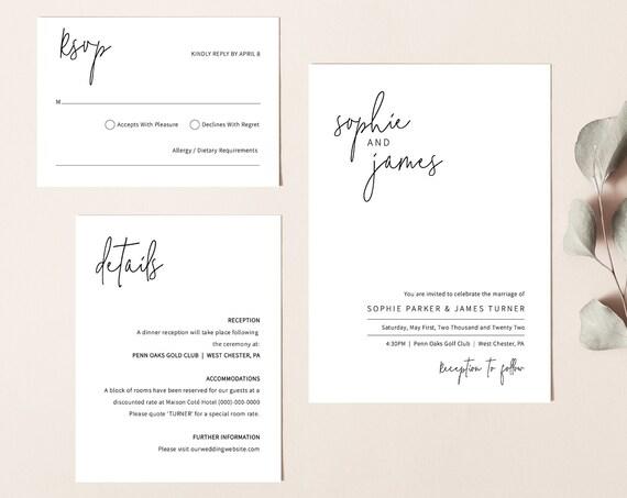 Wedding Invitation Template Suite, Minimalist Elegant, Editable & Printable Instant Download, Templett, Try Before Purchase