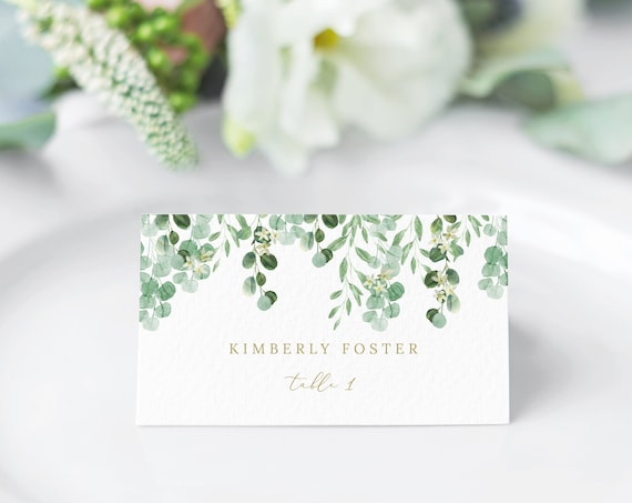 Place Card Template, Garden Greenery, Wedding Seating Card Printable, Instant Download, Templett, Editable