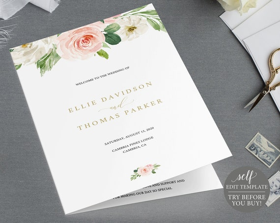 Wedding Ceremony Program, Blush Floral, Instant Download Editable Template, TRY BEFORE You BUY