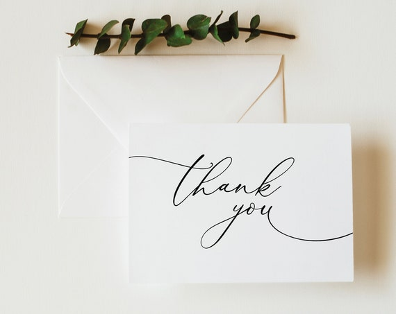 Classic Thank You Card Template, Folded, Elegant Thank You Printable, INSTANT Download, Templett, Fully Editable