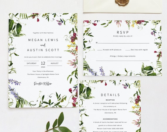 Wedding Invitation Template Set, Summer Garden Greenery, Invitation RSVP & Details Card, Printable, Templett INSTANT Download, Editable