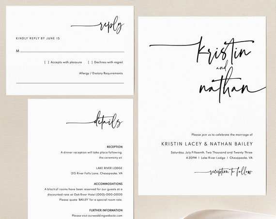 Wedding Invitation Template Set, Modern Contemporary, Clean Simple Wedding Invitation Suite, Printable, Editable, Templett INSTANT Download