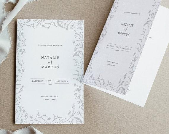 Winter Botanical Wedding Program Template, Printable Folded Program, Editable Templett, INSTANT Download