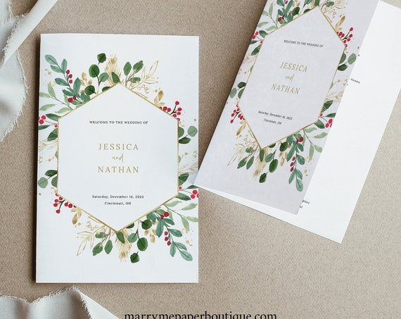 Winter Berry Program Template, Christmas Wedding, Folded Program Printable, Templett Editable, Instant Download
