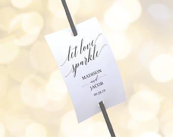 navy wedding sparkler tag template let love sparkle editable etsy