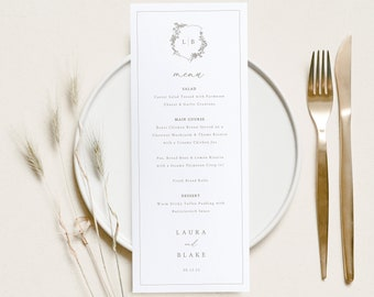 TRY BEFORE You BUY 100/% Editable Instant Download Formal Botanical Wedding Menu Template