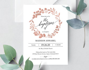 greenery christening invitation template printable etsy