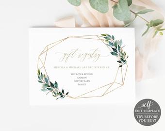 Registry Card Wedding Laurel Olive Watercolor Greenery Registry Registered at Card Instant Download Boho Editable Template