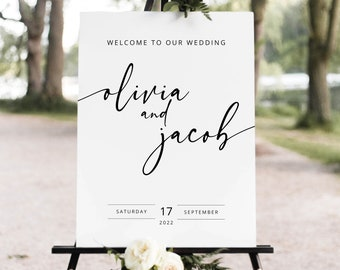 Wedding Welcome Sign Template,Wedding Welcome Sign Printable,Calligraphy Welcome Sign,Elegant Welcome Sign,Welcome Sign Editable,JUH04