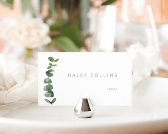 Set of 25 Simple Elegant Folded Wedding Place Cards  Wedding Place Card Tents  Silver and Ivory Place Cards  Customization Available