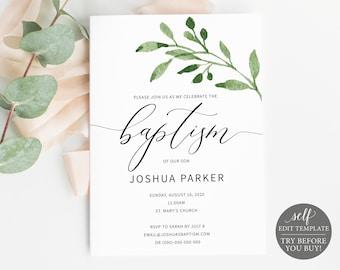 Printable Baptism Invitation Template Etsy