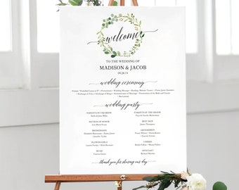 Greenery Wedding Program Sign Template Editable Large Printable Poster PDF Instant Download MM07 1