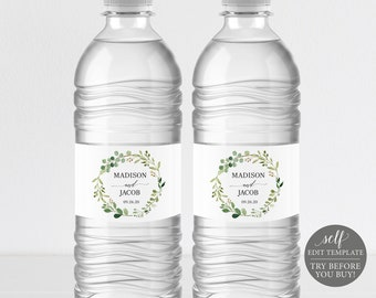 greenery wedding water bottle label template printable water bottle label editable water bottle label instant download