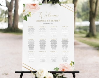 Seating Chart Sign Pink flowrs Seating Chart Template Editable Seating Chart 100 Magnolia flowers Wedding Seating Chart Template