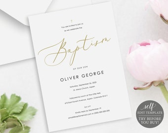 floral baptism invitation template try before you buy etsy