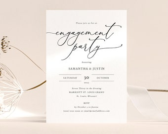 #073-E Printable Engagement Invitation Card Instant Download Soft Grey Calligraphy Engagement Party Invitation Template