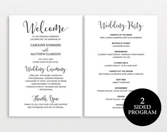 Wedding Program Template Rustic Ceremony Printable DIY PDF
